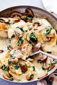Creamy Parmesan Garlic Mushroom Chicken is ready in just 30 minutes and the parmesan garlic sauce will wow the entire family!  This will become a new favorite!  Can I get a hallelujah for air conditioning?  Our air conditioning went out in the place where we are living now and of course it is the week …