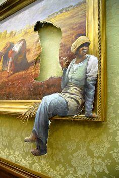 UK - Bristol - Banksy - Fag break    'Agency Job (Gleaners)' by Banksy. A remix of an original painting by Jean-Francois Millet.