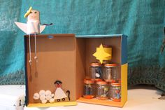It's Christmas time so we created our little Christmas crib using a shoes box, colourful paper, plasticine, some desserts jars and other materials we found at home :) A great way to encourage kids to use their imagination and skills :)