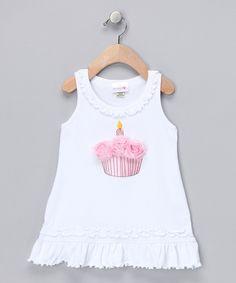 White Cupcake Rosette Dress - Infant & Toddler 1st birthday dress idea..