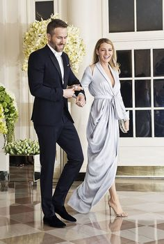 Ryan Reynolds and Blake Lively wearing Ralph & Russo to a State Dinner at the Whitehouse, Washington, D.C..
