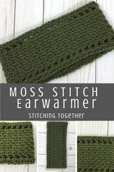 Make this beautiful moss stitch ear warmer with this free crochet pattern. It works up super quickly and will keep your ears nice and warm! - Warmers - Ideas of Warmers Crochet Ear Warmer Pattern, Crochet Headband Pattern, Crochet Ear Warmers, Easy Crochet Headbands, Crochet Beanie, Crochet Borders, Crochet Stitches, Crochet Patterns, Crochet Edgings