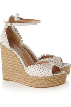 Tabitha Simmons|Harp perforated leather espadrille wedge sandals|NET-A-PORTER.COM