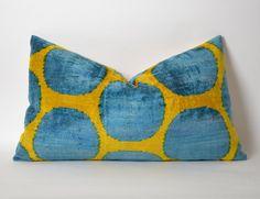 ordered 16x24 Velvet Ikat Pillow Cover, Blue Polka Dots Handmade ikat silk velvet Pillow Cover 14x24 Blue Velvet Pillow Blue Yellow Pillow