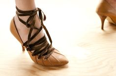 DIY Ribbon Laced High Heals. This is so much easier than it looks!  A-dor-able
