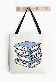 Smart Girls Read Books - book lover gift inspirational quote | Tote Bag by RedHillPrints