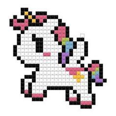 Unicorn Cross Stitch Pattern, Easy Cross Stitch Patterns, Pony Bead Patterns, Perler Patterns, Cross Stitch Designs, Tiny Cross Stitch, Simple Cross Stitch, Unicorn Pixel Art, Pixel Art Animals