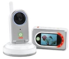 """Fisher-Price Take Along Cam Video Monitor, Grey/White by Fisher-Price. $59.99. Portacam video monitor comes with a large, crystal clear 2.4"""" lcd screen. Can be placed on a dresser, mounted on a wall or positioned on a table wherever baby is napping or sleeping. Includes rechargeable batteries with a docking station for the camera, plus rechargeable batteries in the receiver as well. High quality, clear sounds and images. Includes bi-directional viewing and a nap timer/..."""