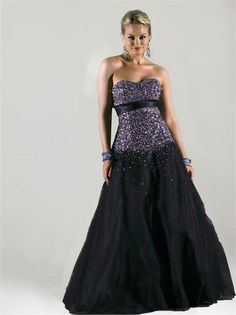 3ba75d455 Breathtaking black ballgown with multi colored jewel encrusted top.see this  Limited Edition Night Moves NOW at Emmy s!