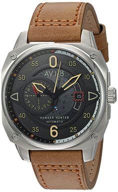 AVI-8Hawker Hunter 'japonés acero inoxidable y cuero automático reloj de aviador de los hombres de, color: marrón (modelo: av-4043-01)-PREFERIDO-1