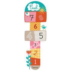 """Sticker sol """"Marelle soleil et oiseaux"""" (motif enfant fille) pour chambre enfant fille"""