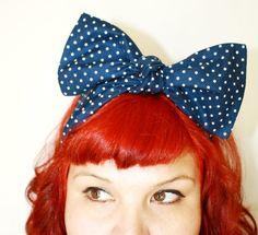 Bow hair tie Navy Blue Polka Dots Nautical by OhHoneyHush on Etsy, $10.00