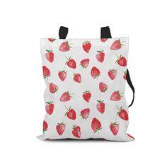 Strawberries Tote Bag. Hard-wearing Polyester Canvas Tote Bag.  Fully Lined Tote Bag.  Bag 4 Life. Market Bag. Shopping Bag. Book Bag. by NJsBoutiqueCo on Etsy