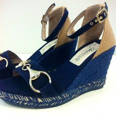 ON SALE GAIMO Gredos | Gredos espadrille sandals are crafted from cotton canvas with a horsebit detail, set on a 9 cm coloured jute wedge with 1.5 cm jute platform and anckle buckle | www.spanishoponline.com