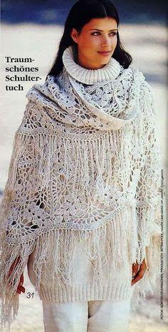 Bello e facile !!! Scialle alluncinetto - Crochet shawl - DODA CROCHET opgeslagen als witteomslagdoekmooi