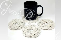 Nautical coasters are perfect for weddings or party favors.  They are made out of firm cotton cord that gives them an even more authentic feel.  All fibers used are sourced here in the USA. | Green Bride Guide