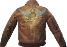 """""""Doc's Boy"""" G.H. Armstrong flew 30 missions on a B-24 bomber called """"Puss-n-Boots"""" with the 577th Bomb Squadron. The winged 8th Air Force insignia was a popular motif for painted flight jackets. From the collection of Richard Peacher."""
