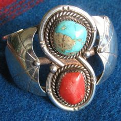 Vintage+Turquoise+Coral+Sterling+Silver+Cuff+by+EponasCrystals,+$585.00