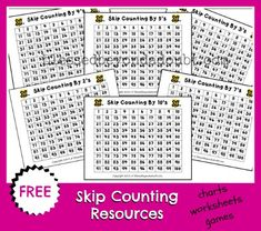 FREE Skip Counting Charts, worksheets, and resources!
