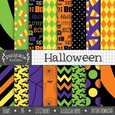 Halloween Digital Paper Digital Scrapbook Paper by Pininkie