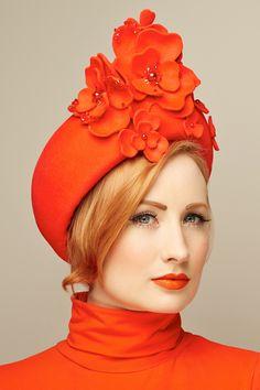 Jacki - fur felt flower turban sold by www.glamoroushats... photo by Joanna Koralewska model Millicent Binks