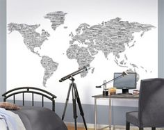 One World Wall Map Mural - Black on White