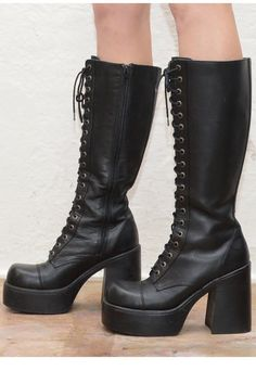 Black Lace up Platform Creeper Knee high Boots / by Idlized