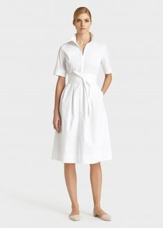 """Lafayette 148 New York: ITALIAN STRETCH COTTON RAYANNE DRESS - Open shirt collar Elbow length sleeve Bust darts Seam pockets Princess seams at front and back Waist seam with inverted pleats Self obi belt Front slit Button front, hidden placket 72% Italian Cotton 23% Polyamide 5% Lycra® Elastane. Imported Hits below the knee. 43"""" length from center back of neck - SEE MORE FROM THIS LABEL"""