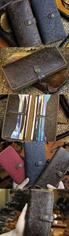 Handmade long leather wallet flowral leather clutch wallet for men women
