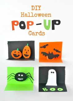 DIY Halloween Pop-Up Cards Project for kids- get your kids making fun stuff this month! From Jeanette Nyberg halloween crafts for kids Diy Halloween, Halloween Pop Up Cards, Halloween Arts And Crafts, Halloween Activities, Craft Activities For Kids, Holidays Halloween, Holiday Crafts, Craft Ideas, Making Ideas