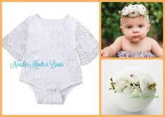 22377c485 Baby Girls 2pc White Lace Romper w/ Headband, Girls Baptism, Christening  Outfit,. Storenvy