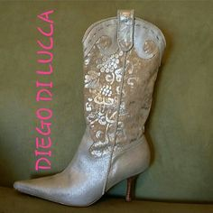 HOST PICK DIEGO DI LUCCA COWGIRL BOOTS Great shape.  Worn maybe 3 times! Made in BRIZIL. Silver and taupe leather. Diego di lucca Shoes