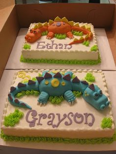 Lisa's Cakes and Cupboards: Twin Dinosaurs for Twin Grandsons