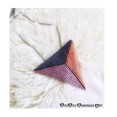Puffy triangle pendant. Find it  www.sousouhandmadeart.com  {linkinbio}  . . . . . #sousouhandmadeart #etsyshop #finebeadwork #bestqualitybeads #handcraftedingreece #trianglependant #statementnecklace #copper_gunmetal_dustyrose #luxuriousjewelry #theartofmaking #lovebeading #lovehandmadejewelry