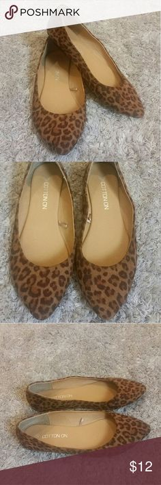 Cheetah Print Flats Cheetah print flats. Faux suede material. Pointed toe. Size 8. Cotton On Shoes Flats & Loafers
