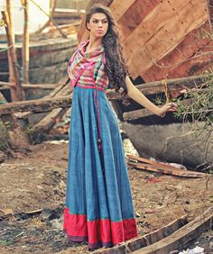 Blue Woven Cotton Overlapping Kalidar Maxi with Checks Cowl Bodice