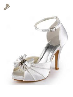 Elegantpark Ivory Women s Peep Toe Pleated Inside Platform High Heel Bow  Rhinestones Buckles Satin Bridal Wedding Shoes US 8 0ee03e08007f