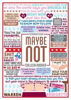 """Book Collage based on """"Maybe Not"""" by Colleen Hoover. Colleen Hoover is amazing…"""