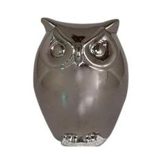 Home Decorators Collection 5 in. Silver Chrome Owl Figurine-1206710250 at The Home Depot