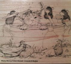 """NEW! HOUSE MOUSE by STAMPENDOUS """"Kitty Cleaning"""" Wood Mounted Rubber Stamp #Stampendous"""