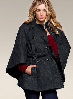 Belted Cape Coat - Victoria's Secret  Grey $148