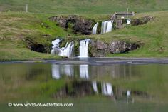 """Kirkjufellsfoss (""""Church Mountain Falls"""") was a short but very well-situated waterfall near the distinctive Kirkjufell mountain on the north side of the Snæfellsnes Peninsula. We happened to see. West Iceland, Iceland Waterfalls, Black Sand, Horseback Riding, Hot Springs, So Little Time, Geology, Explore, Landscape"""