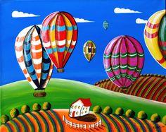 Original American Folk Art Painting - Colorful Hot Air Balloons - EBSQ. $125.00, via Etsy.