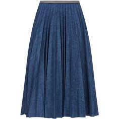 Leur Logette Denim Pleated Midi Skirt (1.855 BRL) ❤ liked on Polyvore featuring skirts, faldas, accordion pleated skirt, denim skirt, knee length denim skirt, mid calf denim skirt and blue striped skirt