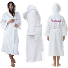 09a0423fed A White Hooded Custom TEXT FRONT+BACK Embroidery TERRY Towel Bathrobe