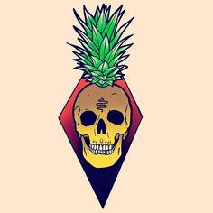 """55 Me gusta, 2 comentarios - Trevor Moran (@trevormorantattoos) en Instagram: """"Pineapple skull. #tattoo #tattooartist #art #artwork #trad #traditional #traditionaltattoo…"""""""