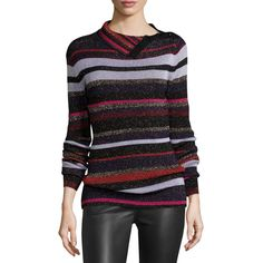 Diane von Furstenberg Leela Metallic Button-Neck Sweater ($315) ❤ liked on Polyvore featuring tops, sweaters, royal navy stripe, sweater pullover, navy striped sweater, stripe sweater, pullover sweaters and diane von furstenberg sweater