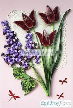 Квиллинг Quillingshop: Открытка Сирень и красные тюльпаны. Открытка малая с фигурной вырубкой