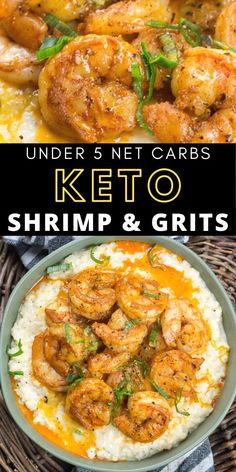 Low Unwanted Fat Cooking For Weightloss This Cheesy Keto Shrimp And Grits Recipe Is The Ultimate Low Carb Comfort Food At Under 5 Net Carbs Per Serving This Will Be A New Favorite Keto Shrimp Recipes, Healthy Low Carb Recipes, Low Carb Dinner Recipes, Keto Dinner, Lunch Recipes, Cooking Recipes, Salad Recipes, Fitness Models, Low Carb Lunch