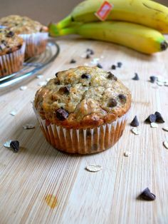 """Healthy Eggless Banana Oats Chocolate Chip Muffins"" Yummy breakfast on the go."